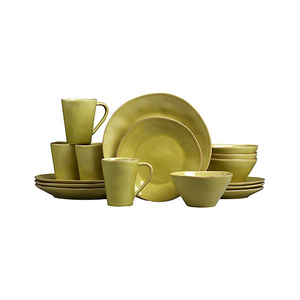 Marin Green 16-Piece Dinnerware Set