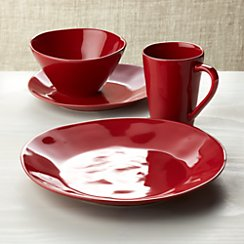 Marin Red 4-Piece Place Setting