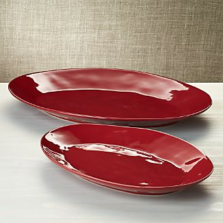 Marin Red Oval Platters