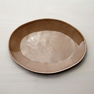 Marin Taupe Oval Platter 15.75""