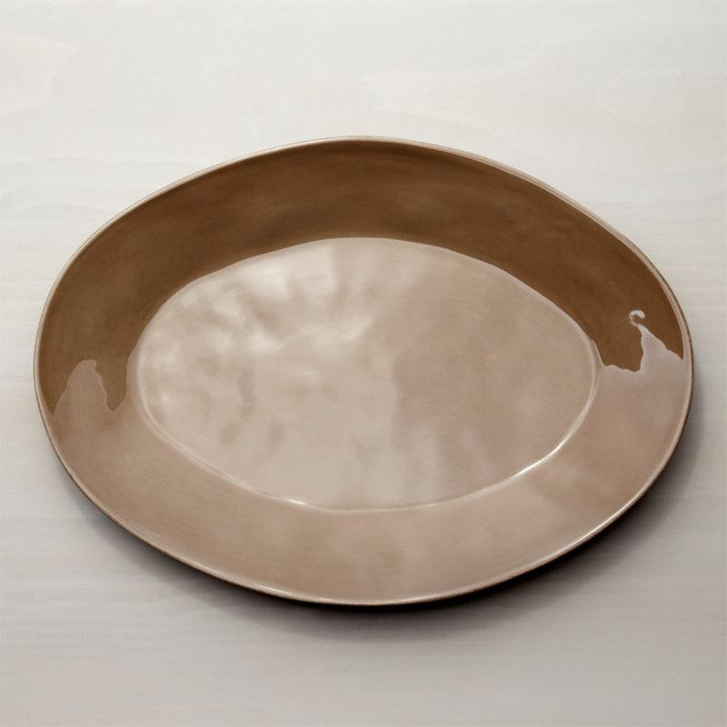 """Marin Taupe Oval Platter 20"""""""