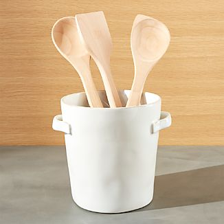 Marin White Utensil Holder with Handles