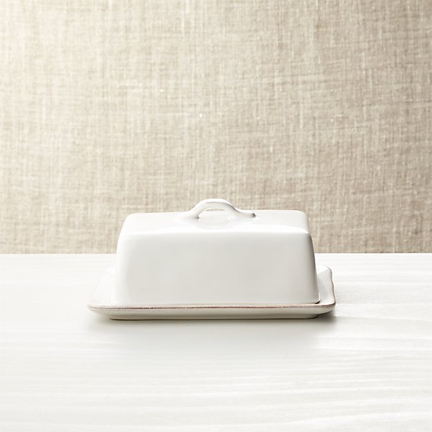 Marin White Covered Butter Dish Crate And Barrel