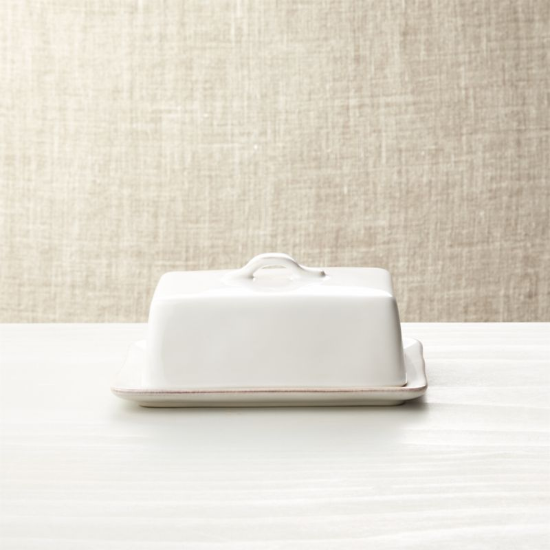 Marin White Covered Butter Dish
