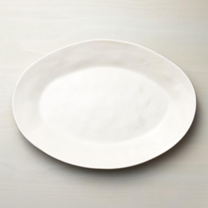 Marin White Large Oval Serving Platter