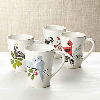 Set of 4 Marin Winter Birds Mugs