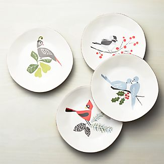 Set of 4 Marin Winter Birds Salad Plates