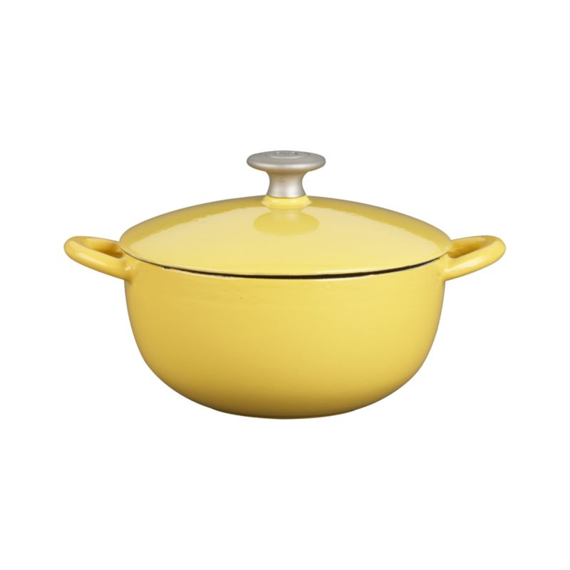 """Our """"Italian Cooking Essentials"""" collection from famed chef and restaurateur Mario Batali expands with a Soup Pot in our exclusive polenta yellow. Each enamel cast iron piece ensures excpetional heat retention and even heating without hot spots. Three-quart soup pot is perfect for soups, stews, stocks and larger vegetables.<br /><br /><NEWTAG/><ul><li>Cast iron with enamel coating</li><li>Cast stainless steel knob</li><li>Especially suited for low-heat cooking</li><li>For stovetop and oven use to 475 degrees</li><li>For use with traditional gas and electric, or ceramic (up to medium heat only) and induction cooktops</li><li>Dishwasher-safe; clean with Bar Keepers Friend; or for stains and more thorough cleaning: pour ½ cup of baking soda into a small bowl. Gradually add small amounts of water to the baking soda, mixing until a paste is formed. Apply the paste to the enamel cast iron cookware and allow to soak for one hour. Use a cellulose sponge to gently scrub the stain from the cookware.</li><li>Made in China</li></ul><br />"""