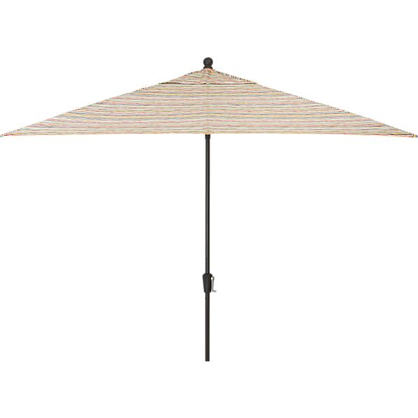 Rectangular Handpainted Stripe Umbrella with Black Frame