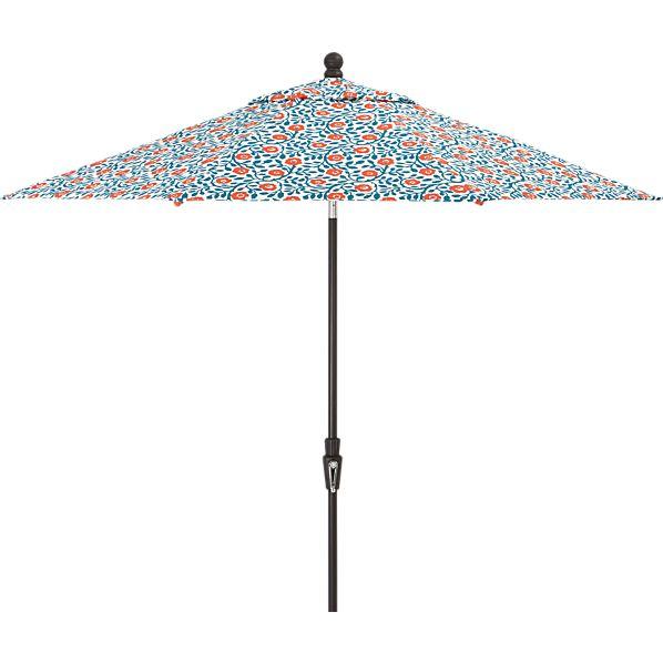 9' Round Poppy Scroll Umbrella with Tilt Black Frame
