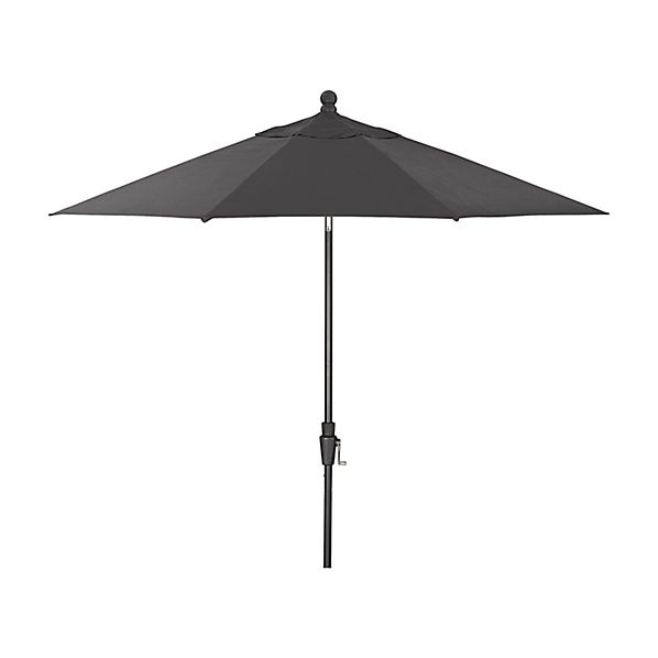9' Round Sunbrella ® Charcoal Patio Umbrella with Tilt Black Frame
