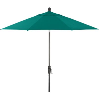 9 Round Sunbrella® Harbor Blue Umbrella with Black Frame