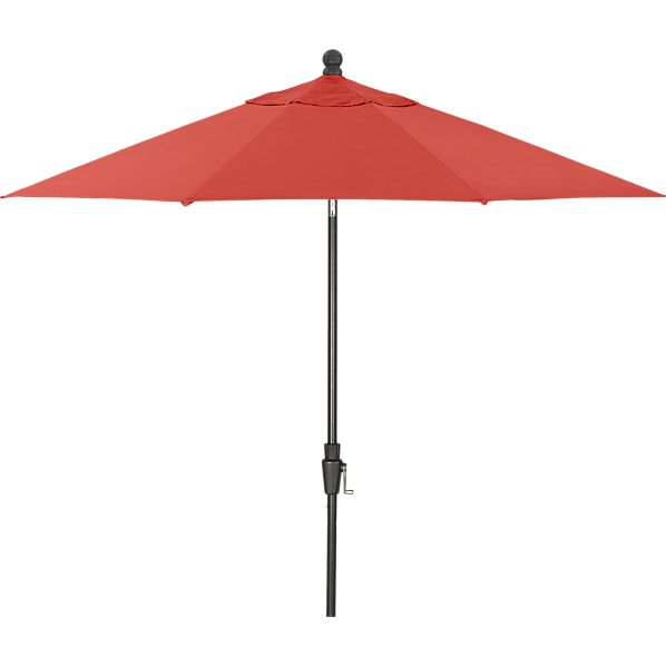 9' Round Sunbrella ® Paprika Umbrella with Tilt Black Frame