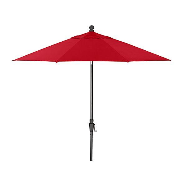 9' Round Sunbrella ® Ribbon Red Patio Umbrella with Tilt Black Frame