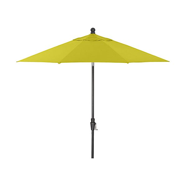 9' Round Sunbrella ® Sulfur Patio Umbrella with Tilt Black Frame