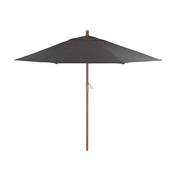 9' Round Sunbrella ® Charcoal Patio Umbrella with FSC Eucalyptus Frame
