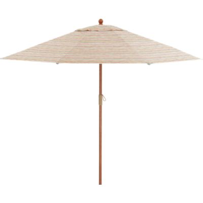 9' Round Handpainted Stripe Umbrella with FSC Eucalyptus Frame