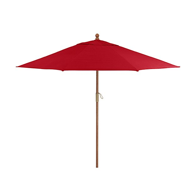 9' Round Sunbrella ® Ribbon Red Patio Umbrella with FSC Eucalyptus Frame