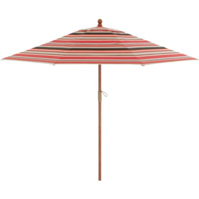 9' Round Sunbrella® Red Multi Stripe Umbrella with FSC Eucalyptus Frame