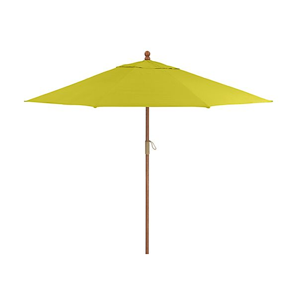9' Round Sunbrella ® Sulfur Patio Umbrella with FSC Eucalyptus Frame