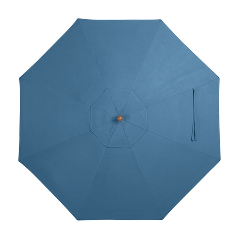 This generous canopy in deep blue Sunbrella solution-dyed acrylic resists fading and mildew while blocking out 98% of the sun's rays. Fits our 9' round frames. The 9' Round Sunbrella Turkish Tile Outdoor Umbrella Canopy is a Crate and Barrel exclusive.<br /><br /><NEWTAG/><ul><li>Fade- and mildew-resistant Sunbrella acrylic (fits all 9' round frames)</li><li>Frames (sold separately): adjustable FSC-certified eucalyptus with solid brass pulley; or aluminum tilt with silver or black finish</li><li>Stands (sold separately): rustproof resin and stone-polyester mixture, in charcoal finish.</li><li>Made in USA or China</li></ul>