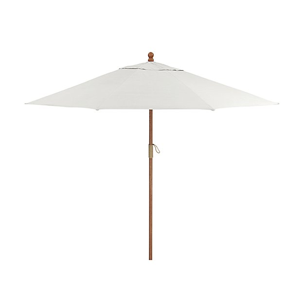 9' Round Sunbrella ® White Sand Patio Umbrella with FSC Eucalyptus Frame