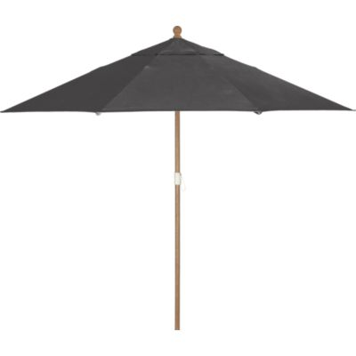 9 Round Sunbrella® Charcoal Umbrella with Eucalyptus Frame