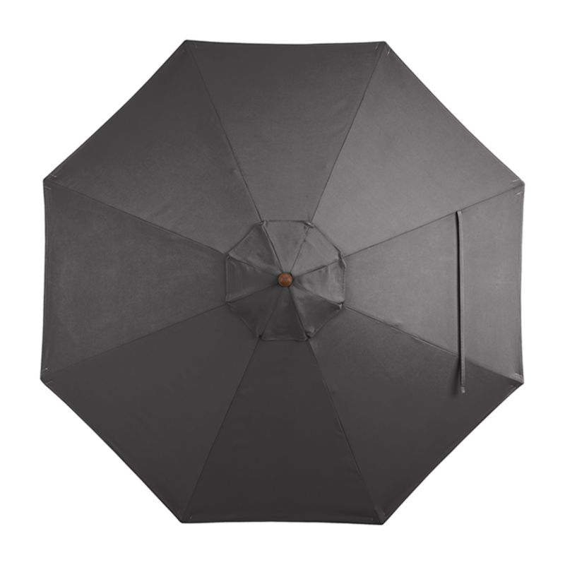 """A chic charcoal canopy in fade- and mildew-resistant Sunbrella® acrylic blocks out 98% of the sun's rays. Fits all of our 9' round frames. For frame and stand options with this cover, see below (frames and stands sold separately).<br /><br /><NEWTAG/><ul><li>Cover: fade- and mildew-resistant Sunbrella acrylic umbrella (fits all 9' round frames; spot clean)</li><li>Frames (sold separately): adjustable FSC-certified eucalyptus with solid brass pulley; or aluminum tilt with silver or black finish</li><li>Stands (sold separately): rustproof poly resin and stone-polyester mixture, in charcoal finish</li><li>Small stand accommodates all our aluminum umbrella frames and 9' round eucalyptus frame</li><li>Use large stand with any of our umbrella frames: accommodates 1.5""""dia. frame with adapter, or 1.875""""dia. frame without adapter</li><li>Large stand works with a table or on its own</li><li>Made in USA or China</li></ul>"""