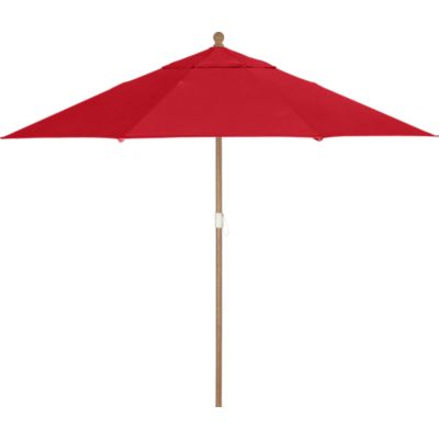 9 Round Sunbrella® Chili Pepper Umbrella with Eucalyptus Frame