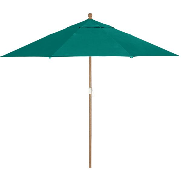 9' Round Sunbrella ® Harbor Blue Umbrella with Eucalyptus Frame