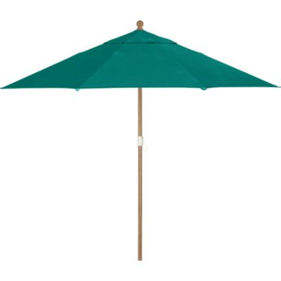 9 Round Sunbrella® Harbor Blue Umbrella with Eucalyptus Frame