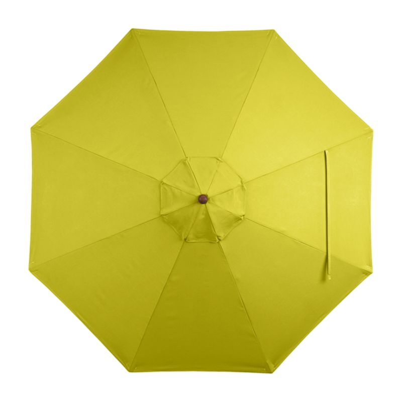 "A bright sulfur yellow canopy in fade- and mildew-resistant Sunbrella® acrylic blocks out 98% of the sun's rays. Fits all of our 9' round frames. For frame and stand options with this cover, see below (frames and stands sold separately).<br /><br /><NEWTAG/><ul><li>Cover: fade- and mildew-resistant Sunbrella acrylic umbrella (fits all 9' round frames; spot clean)</li><li>Frames (sold separately): adjustable FSC-certified eucalyptus with solid brass pulley; or aluminum tilt with silver or black finish</li><li>Stands (sold separately): rustproof poly resin and stone-polyester mixture, in charcoal finish</li><li>Small stand accommodates all our aluminum umbrella frames and 9' round eucalyptus frame</li><li>Use large stand with any of our umbrella frames: accommodates 1.5""dia. frame with adapter, or 1.875""dia. frame without adapter</li><li>Large stand works with a table or on its own</li><li>Made in USA or China</li></ul>"