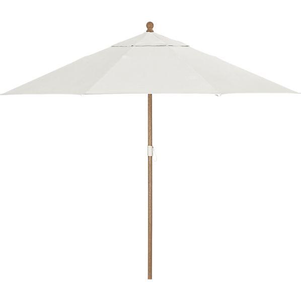 9' Round Sunbrella ® White Sand Umbrella with Eucalyptus Frame