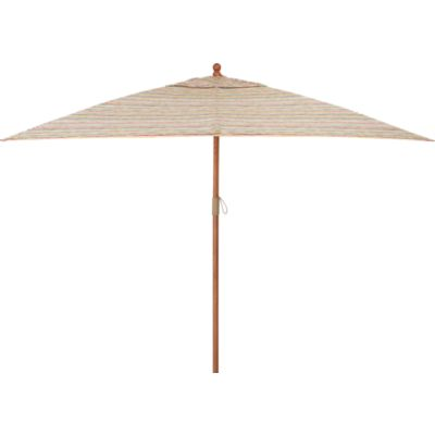 Rectangular Handpainted Stripe Umbrella with Eucalyptus Frame