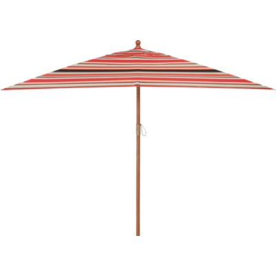 Rectangular Sunbrella® Red Multi Stripe Umbrella with Eucalyptus Frame