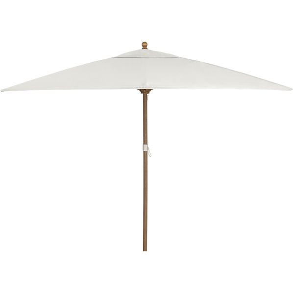 Rectangular Sunbrella ® White Sand Umbrella with Eucalyptus Frame
