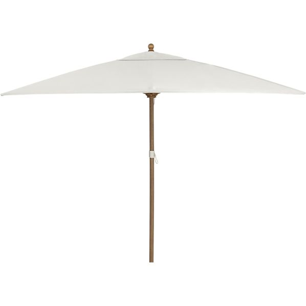 Rectangular Sunbrella ® White Sand Umbrella with Eucalyptus Frame