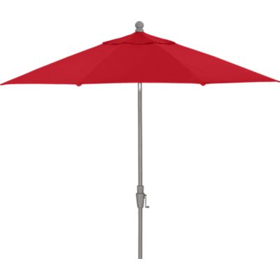 9 Round Sunbrella® Chili Pepper Umbrella with Silver Frame
