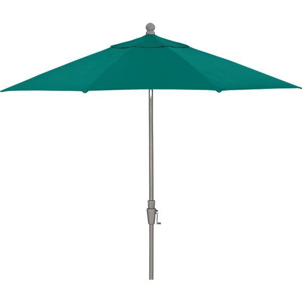 9' Round Sunbrella ® Harbor Blue Umbrella with Silver Frame
