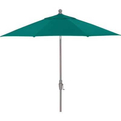 9 Round Sunbrella® Harbor Blue Umbrella with Silver Frame