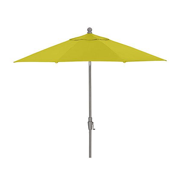 9' Round Sunbrella ® Sulfur Patio Umbrella with Tilt Silver Frame