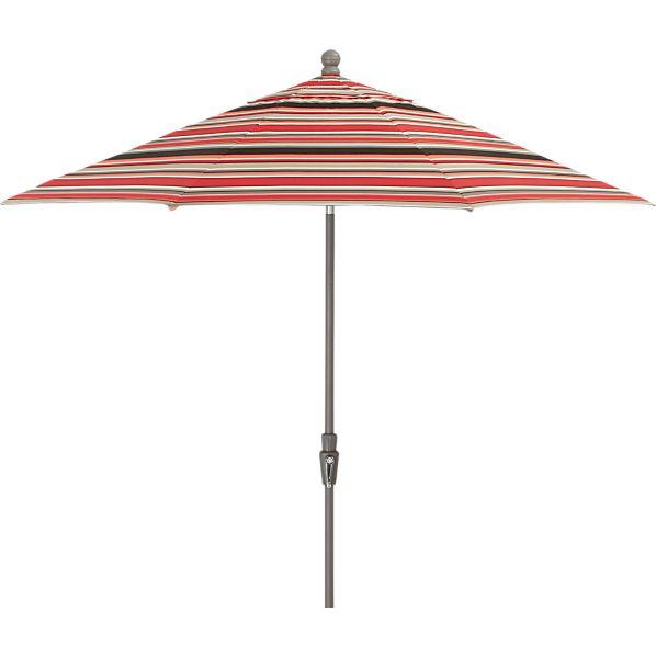 9' Round Sunbrella ® Red Multi Stripe Umbrella with Tilt Silver Frame