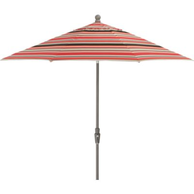 9' Round Sunbrella® Red Multi Stripe Umbrella with Tilt Silver Frame