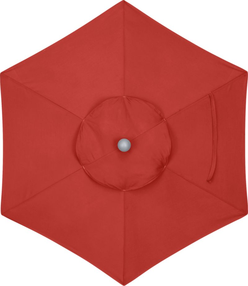 A spicy caliente canopy in fade- and mildew-resistant Sunbrella® acrylic blocks out 98% of the sun's rays. Fits our 6' round frames. Frames and stands sold separately.<br /><br /><NEWTAG/><ul><li>Cover: fade- and mildew-resistant Sunbrella acrylic umbrella (fits our 6' round frames; spot clean)</li><li>Frames (sold separately): aluminum tilt and high dining in silver</li></ul><br />
