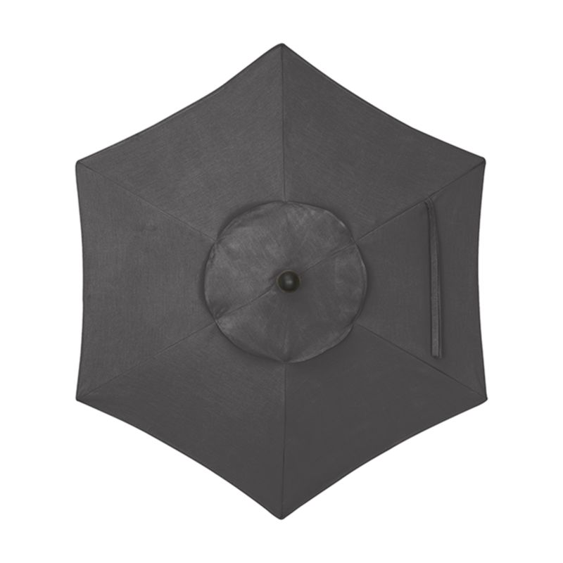 """A chic charcoal canopy in fade- and mildew-resistant Sunbrella® acrylic blocks out 98% of the sun's rays. Fits our 6' round frames. For frame and stand options with this cover, see below (frames and stands sold separately).<br /><br /><NEWTAG/><ul><li>Cover: fade- and mildew-resistant Sunbrella acrylic umbrella (fits our 6' round frames; spot clean)</li><li>Frames (sold separately): aluminum tilt with black finish; 90""""H for dining table or 94""""H for high dining table</li><li>Stands (sold separately): rustproof poly resin and stone-polyester mixture, in charcoal finish</li><li>Small stand accommodates all our aluminum umbrella frames and 9' round eucalyptus frame</li><li>Use large stand with any of our umbrella frames: accommodates 1.5""""dia. frame with adapter, or 1.875""""dia. frame without adapter (adapter included)</li><li>Large stand works with a table or on its own</li><li>Made in USA</li></ul>"""