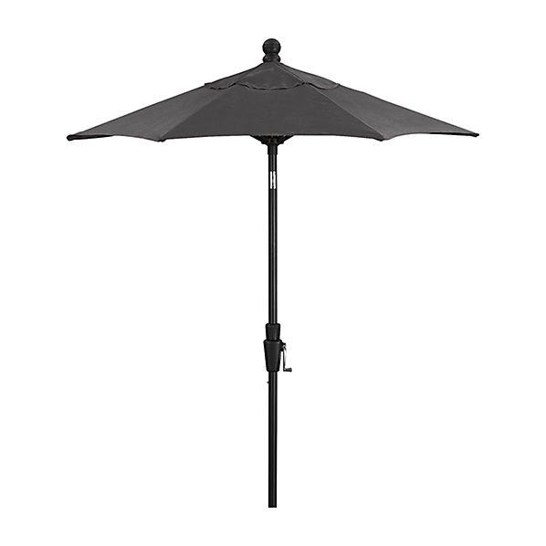 6' Round Sunbrella ® Charcoal High Dining Patio Umbrella with Tilt Black Frame