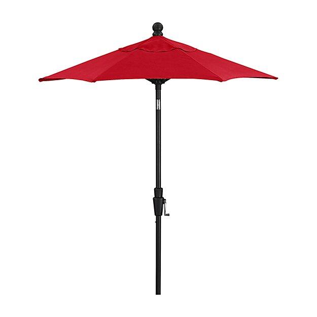 6' Round Sunbrella ® Ribbon Red Patio Umbrella with Tilt Black Frame