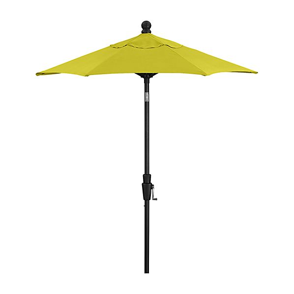 6' Round Sunbrella ® Sulfur Patio Umbrella with Tilt Black Frame