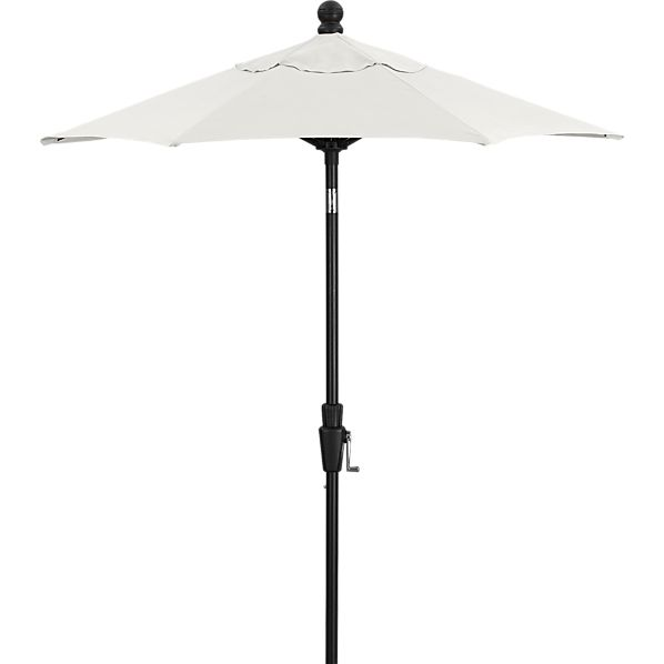 6' Round Sunbrella ® White Sand High Dining Umbrella with Tilt Black Frame