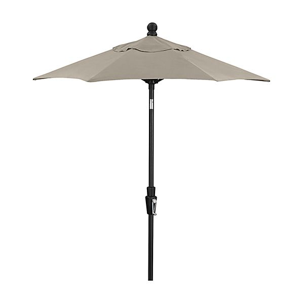 6' Round Sunbrella ® Stone Patio Umbrella with Tilt Black Frame